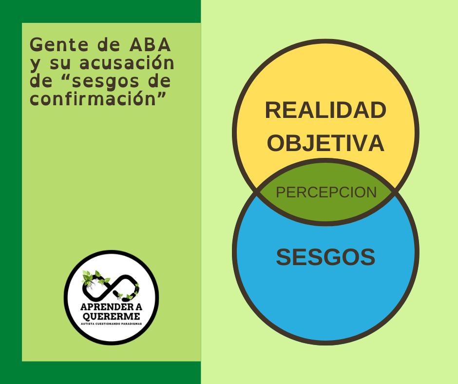 """[Descripción de la imagen: Al lado izquierdo un texto que dice Gente de ABA y su acusación de """"sesgos de confirmación"""" en letras negras sobre fondo verde claro enmarcado con verde oscuro.Al lado derechoun círculo amarillo arriba con el texto adentro """"realidad objetiva"""", intersecta con un círculo azul con el texto """"sesgos"""" y en la intersección verde oscuro el texto """"PERCEPCION"""".]"""